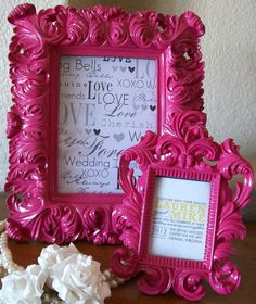 Glossy Pink Baroque Vintage Frame