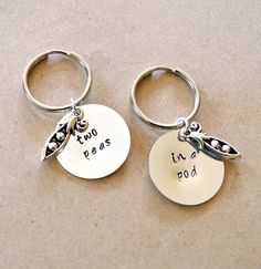 Two Peas in a Pod Keychain Set - Best Friend's Keychain - Hand Stamped, Customized - $16