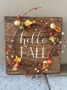 Rustic Fall Wood Pallet Sign w/ berry pumpkin garland, fall decor, fall home decor, fall decoration, Pallet Crafts, Wood Crafts, Diy Crafts, Pallet Ideas, Wood Pallet Signs, Wood Pallets, Fall Pallet Signs, Fall Home Decor, Autumn Home