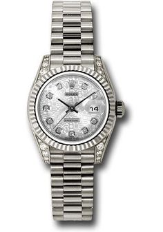 Rolex Oyster Perpetual Datejust Lady - Gold President White Gold - Fluted Bezel - President Watch 179239 sjdp