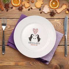 Personalised Loving Penguins Ceramic Plate