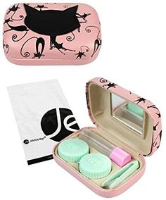 JAVOedge Pink Cat Face and Print Contact Lens Travel Kit with Mirror, Solution Bottle, Tweezers,Twist Top Lens Cases
