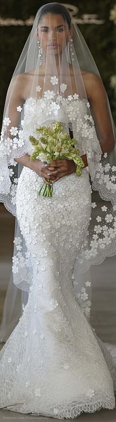 """OSCAR DE LA RENTA BRIDAL (^.^) Thanks, Pinterest Pinners, for stopping by, viewing, re-pinning,  following my boards.  Have a beautiful day! ^..^ and """"Feel free to share on Pinterest #fashion  #weddinggowns #weddingreceptionidea"""