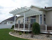 Deck Cover, White Patio Cover Pergola and Patio Cover Signature Landscapes Inc. Fargo, ND