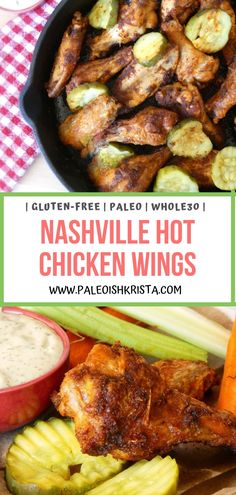 "If you can handle quite a bit of spice, these Nashville Hot Chicken Wings are FOR YOU! ""Fried"" in an oven or air fryer and then tossed in a fiery hot wing sauce, these Keto, Paleo and wings are absolute chicken wing perfection! Whole 30 Chicken Wings Recipe, Paleo Chicken Wings, Fried Chicken Recipes, Chicken Wing Sauces, Baked Chicken, Turkey Recipes, Paleo Recipes, Real Food Recipes, Superfood Recipes"