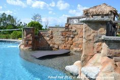 Fun in the sun on this gunite sun ledge with a waterfall on this back yard hybrid swimming pool.