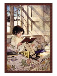Books in Winter Premium Poster by Jessie Willcox-Smith at Art.com