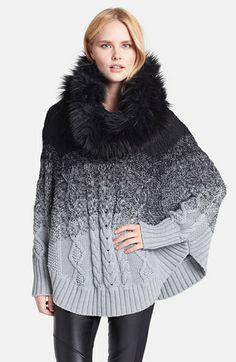 MICHAEL Michael Kors Ombré Poncho with Faux Fur Collar | Nordstrom