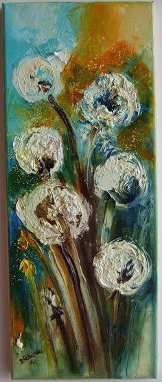 Dandelions Original Oil Painting Impression Palette knife Garden Europe Artist #ImpressionismImpastoModern