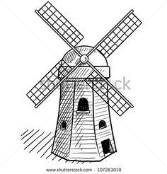 Dutch Windmill Drawing
