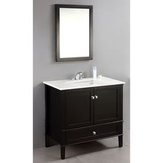 Update your bathroom with casual contemporary elegance when you install this 36-inch bath vanity. Featuring a black lacquer finish, an undermounted ceramic sink, and brushed nickel hardware, this stylish vanity works well with any color scheme.