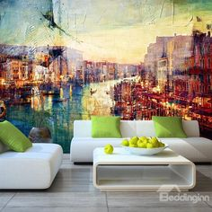 Natural Country Style Riverside Scenery Waterproof Splicing 3D Wall Murals