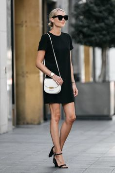Cute little black dress and ankle heels