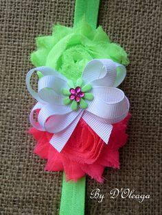 Neon Green Headband- Baby Girls Headband- Girls Headband- Spring Headband- Stretch Headband- Elastic Headband- Gift- Made to Order!!!!