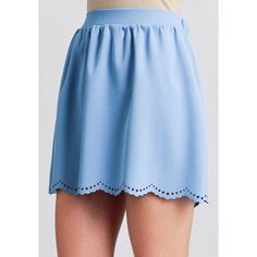 Ruche One Step Closer Scalloped Skirt ($15) ❤ liked on Polyvore featuring skirts, light blue pleated skirt, elastic waist skirt, scallop hem skirt, scalloped skirt and blue skirt