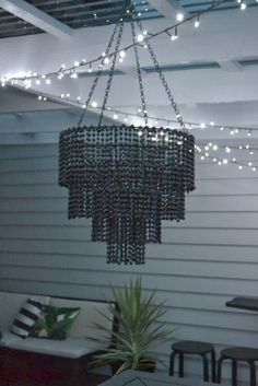 in the night sky: The DIY Beaded Chandelier (Decoracion Halloween Luces) Beaded Chandelier, Chandelier Lighting, Chandeliers, Chandelier Bedroom, Candle Lamp, Diy Arts And Crafts, Lamp Shades, Light Fixtures, Diy Furniture