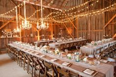 banquet setup for 200 people with long and round tables | Barn Wedding Reception Decoration Ideas
