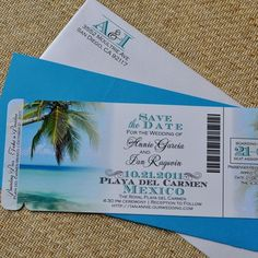 """... Fee - Boarding Pass Invitation Or Save The Date (Tropical Destination Wedding Beach Design)"""" title=""""Custom Made Design Fee - Boarding Pass Invitation Or ..."""