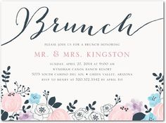 Painted Perennials - After Wedding Brunch Invitations - Magnolia Press - Slate - Gray : Front Lunch Invitation, Invitation Fonts, Wedding Invitation Wording, Floral Wedding Invitations, Birthday Party Invitations, Shower Invitations, Wedding Stationery, Invitation Templates, Invitation Ideas