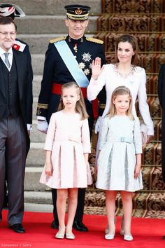 Proud moment: Prime Minister Mariano Rajoy (L) stands with King Felipe VI of Spain and Queen Letizia of Spain and their two young daughters today at the low-key affair Madrid Crown Princess Victoria, Crown Princess Mary, Little Princess, Princess Sofia, Star Of The Week, Madrid, Queen Letizia, Princess Letizia, Hollywood Fashion