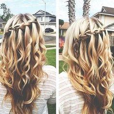 Bridesmaid Hair-McKenzie hair for wedding Plaits Hairstyles, Pretty Hairstyles, Hairstyle Ideas, Updos, Hair Plaits, Wedding Hairstyles, Long Curly Hair, Curly Hair Styles, Coiffure Hair