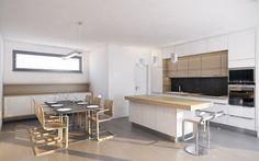 Kuchyni s jídelním koutem jsme navrhli v kombinaci bílého lesku a světlé dýhy běleného dubu. Veškeré spotřebiče a dřez jsou umístěny na zadní stěně, čímž jsme dosáhli toho, že velkorysý ostrůvek bude majitelům sloužit celý jako pracovní plocha. Přímo z kuchyně je přístupná prostorná klimatizovaná spižírna. Conference Room, Table, House, Furniture, Home Decor, Homemade Home Decor, Meeting Rooms, Tables, Haus