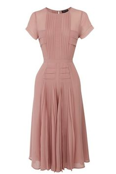 Pleated Bodice Skirt Midi Dress  dusty rose pink