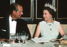 Pin for Later: A Look at Charming Prince Philip Through the Years Queen Elizabeth II and Prince Philip smiled at each other at a state banquet in 1970.