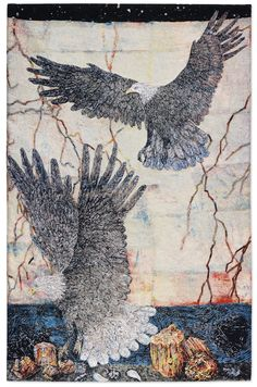 Kiki Smith, Guide, Handwoven tapestry, 113 × 75 in Kiki Smith, Creators Project, Tapestry Weaving, Textiles, Sculpture, Native American Art, Animal Paintings, Fiber Art, Body Art