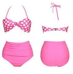 High Waisted Vintage Halterneck Ruffled Polka Dot Print Swimsuit For Women Color: PINK, BLACK, BLUE Size: S, M, L, XL Category: Women > Swimwear   Gender: For Women  Material: Polyester  Pattern Type: Polka Dot  Swimwear Type: Bikini  Waist: High Waisted  #wholesalecheapbathingsuits #wholesalebathingsuit #cheapbathingsuits #bathingsuits #bridgat.com