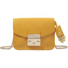 Furla Metropolis clutch ($260) ❤ liked on Polyvore featuring bags, handbags, clutches, yellow, clasp purse, furla, yellow handbag, yellow purse and brown purse