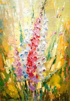"""Gladiolus - Art. Palette Knife oil painting on canvas by Dmitry Spiros. Size: 24""""x32"""" (60 x 80 cm)"""