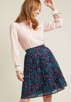 c7fe08708 Pleated Chiffon A-Line Skirt in Vines Pink Pleated Skirt, Modcloth, Chiffon  Fabric