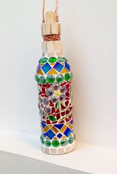 Mosaic Crafts, Mosaic Art, Mosaic Bottles, Copper Wire, Stained Glass, Exotic, Vibrant, Baby, Etsy Shop
