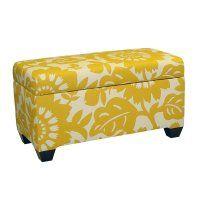 Skyline Canary Print Storage Bench--Hayneedle