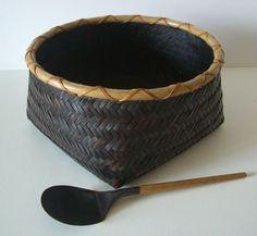 Vintage Japanese Charcoal Bamboo Basket and Scoop, Sumitori and Haisaji