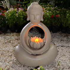 The Buddha Indoor/Outdoor Fountain with LED Light adds Eastern-inspired style to your home or garden. Create a peaceful environment with this artfully crafted sculpture of the Buddha, which generates
