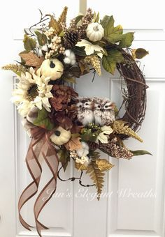 A personal favorite from my Etsy shop https://www.etsy.com/listing/551489847/fall-wreath-owl-wreath-winter-wreath