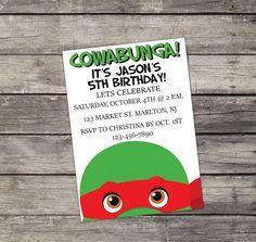 Ninja Turtles Birthday Party Invitation COWABUNGA!  Raphael Red Ninja Turtle Invitation