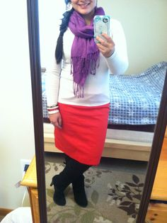 Red pencil skirt, black tights, cream sweater top, and purple scarf. Modest winter fashion
