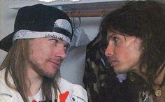 Axl Rose and Steven Tyler 1988