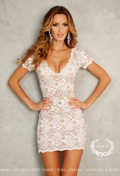 HOLT EMMA White Lace Dress - Hand painted with Silicon Paint - Avail in BLK and Brown