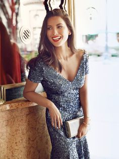 Winter Fashion Trends 2014 - Olivia Munn Models Winter Fashion - Nothing like a little sparkle!