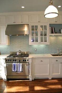 white, robin's egg blue backsplash and timber flooring Kitchen Redo, New Kitchen, Kitchen Cabinets, White Cabinets, Kitchen Ideas, Shaker Cabinets, Cream Cupboards, Bella Kitchen, Glass Cabinets