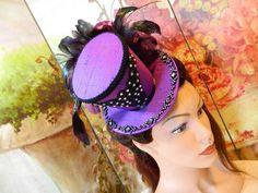 Hüte - Mini Zylinder lila Seide Damenhut Gothic Burlesque - ein Designerstück von Nashimiron bei DaWanda