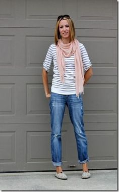 Love this outfit, Boyfriend jeans, stripes, summer scarf, printed TOMS Casual Outfits For Teens, Cute Outfits, Scarf Outfits, Casual Clothes, Casual Wear, Looks Style, Style Me, Boyfriend Jeans Outfit, Stitch Fix Outfits