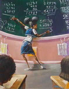 """A Student"" Frank Morrison Art Art Black Love, Black Girl Art, Black Is Beautiful, Art Girl, Lil Black, Simply Beautiful, Black Girls, Frank Morrison Art, Image Positive"