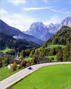 I WISH I was in this car on this road right this moment! It would be FUN! The village of Ramsau,Berchtesgaden in Bavaria