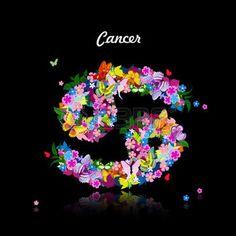 signe astrologique: Motif de papillons, signe du zodiaque mignon - cancer
