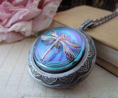 Vintage Style Platinum Dragonfly Large Locket Necklace, Czech Art Glass Dragonfly Cab Antique Silver Locket Necklace